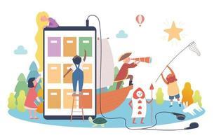 concept de livre numérique. les enfants choisissent un livre sur un téléphone portable géant et des personnages de contes de fées surgissent. vecteur
