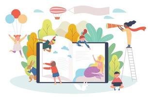 concept de livre numérique. les enfants parcourent les étagères d'énormes appareils numériques et des personnages de contes de fées surgissent. vecteur
