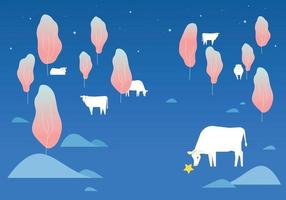 il y a des vaches blanches dans la forêt sombre avec une atmosphère de rêve. vecteur