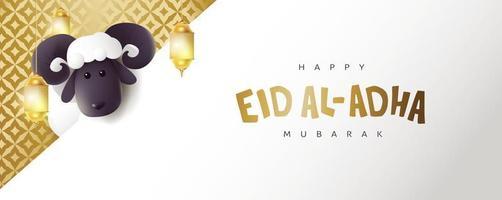 eid al adha mubarak la célébration de la calligraphie du festival de la communauté musulmane avec des moutons blancs vecteur