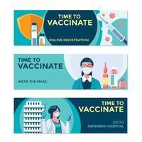 temps de vaccination concept de bannière covid19 vecteur