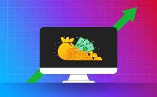investissement sur l'écran du moniteur avec la flèche verte. argent or sur bakcground vecteur et illustration