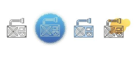 il s'agit d'un ensemble d'icônes de contour et de couleur de l'unité d'alimentation de l'ordinateur vecteur