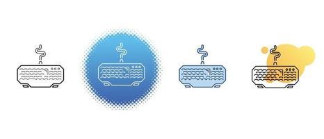 il s'agit d'un ensemble d'icônes de contour et de couleur pour un clavier filaire vecteur