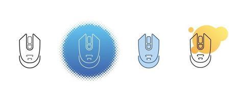 il s'agit d'un ensemble d'icônes de contour et de couleur d'une souris d'ordinateur sans fil vecteur