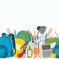 modèle sans couture de vecteur avec des fournitures scolaires. globe, sac à dos, crayons, stylos, trombones, calculatrice