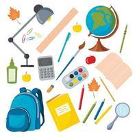 ensemble de vecteurs de fournitures scolaires. globe, sac à dos, crayons, stylos, trombones, calculatrice vecteur