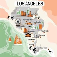 illustration dessinée à la main de los angeles avec des destinations touristiques vecteur
