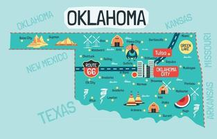 illustration dessinée à la main de la carte de l'oklahoma avec les destinations touristiques vecteur