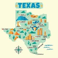 illustration dessinée à la main de la carte du texas avec les destinations touristiques vecteur