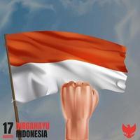 drapeau indonésien réaliste avec le poing en l'air pour la fête de l'indépendance indonésienne vecteur