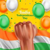 jour de l'indépendance de l'inde avec drapeau, ballon et poing vecteur