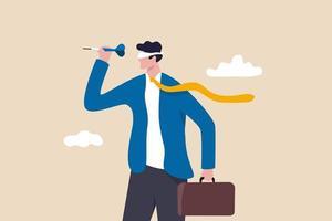 cible peu claire ou vision d'entreprise aveugle, échec du leadership ou erreur visant l'objectif, concept de gestion non formé ou non éduqué, homme d'affaires confus jetant une fléchette les yeux bandés. vecteur