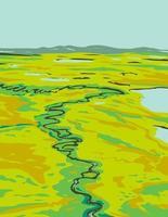 une rivière serpentant à travers la toundra dans le sud-est du cap krusenstern monument national situé en alaska états-unis wpa poster art vecteur
