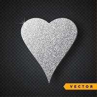 Vecteur argent brille au coeur. Saint-Valentin vecteur brille et scintille. Conception de vacances.