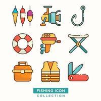 pack d'icônes de pêche vecteur