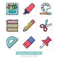 collection d'icônes de fournitures scolaires vecteur