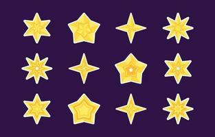 collection d'autocollants étoile jaune vecteur