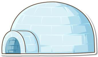 Maison igloo de glace autocollant sur fond blanc vecteur