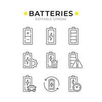 ensemble d'icônes linéaires de batteries vecteur