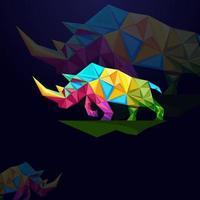 logo de rhinocéros avec conception de concept origami vecteur