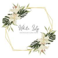 cadre rustique aquarelle fleur tropicale avec lis vecteur