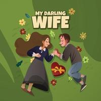 une femme et un homme se tenant la main tout en s'étendant au-dessus de l'herbe pleine de fleurs vecteur