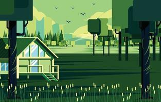 chalet de vie nature dans le concept de forêt verte vecteur
