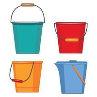 ensemble de conteneurs isothermes pour le lavage et le nettoyage en plastique, bain de seau de bassins, image vectorielle à plat vecteur