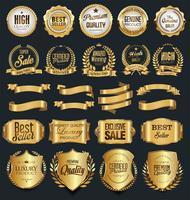 Collection d'éléments de design de luxe en or et argent vecteur