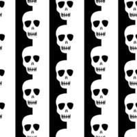 motif de crâne sans couture sur un fond rayé noir et blanc. motif rayé avec des crânes.design pour halloween, jour des morts. illustration vectorielle vecteur