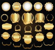 Collection d'éléments de design de luxe en or et noir vecteur