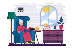 grand-mère au repos avec un chat à la maison. vieille femme se détend avec des livres dans la chambre. personnage de mamie féminine. restez à la maison illustration avec grand-mère. vecteur