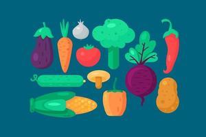 vecteur de collection de nourriture de légumes biologiques