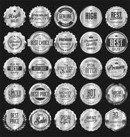 Collection d'illustration vectorielle insigne d'argent rétro vecteur