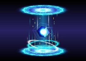 cubes 3D. abstrait. portail et hologramme science futuriste. collection de haute technologie numérique de science-fiction dans un hud brillant. porte magique dans le jeu fantastique. podium de téléportation en cercle. gui, ui réalité virtuelle vecteur