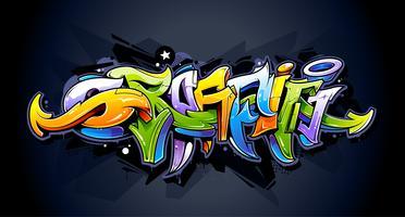 Lettrage graffiti brillant vecteur