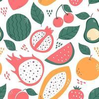 fruits et feuilles de modèle sans couture isolés sur fond blanc. papaye, fruit du dragon, cerise, pastèque, orange, grenade, avocat, illustration vectorielle de pêche. vecteur