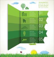 Illustration vectorielle d'écologie moderne fond vert design mise en page vecteur