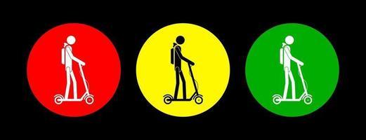 panneaux d'avertissement de scooter. vecteur. vecteur