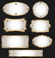 Collection de cadres et rubans de badges étiquettes rétro dorées