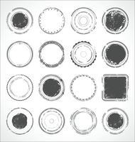 Vecteur de grunge rond papier autocollants noir et blanc