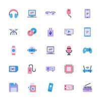 icône multimédia sertie de style plat. dispositif de technologie signe symbole illustration vectorielle vecteur