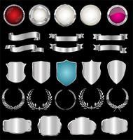 Collection de badges et étiquettes rétro en argent