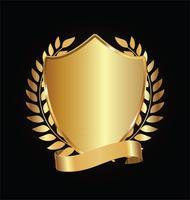 Bouclier d'or et noir avec des lauriers d'or