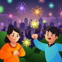 enfants jouant à la fête de la nuit des feux d'artifice vecteur