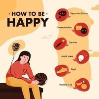 6 étapes pour maintenir la santé mentale vecteur