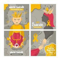 jeu de cartes de sensibilisation au suicide dans le monde vecteur