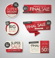 Collection moderne de bannières et étiquettes de vente moderne