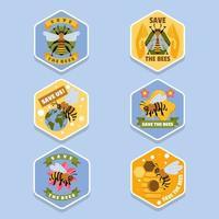 sauver les abeilles pour l'ensemble d'autocollants de protection des abeilles mellifères vecteur